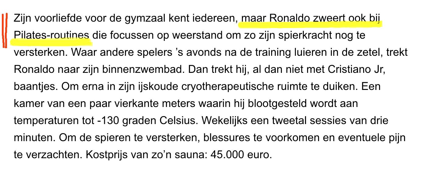 Tekst krantenartikel Ronaldo en Pilates